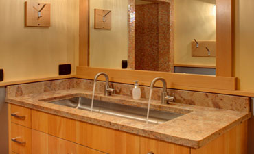 Bathroom with custom granite sink